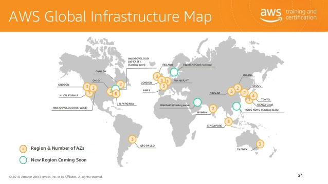 Carte des serveur et position géographique de Amazon S3