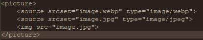 Code integration WebP HTML